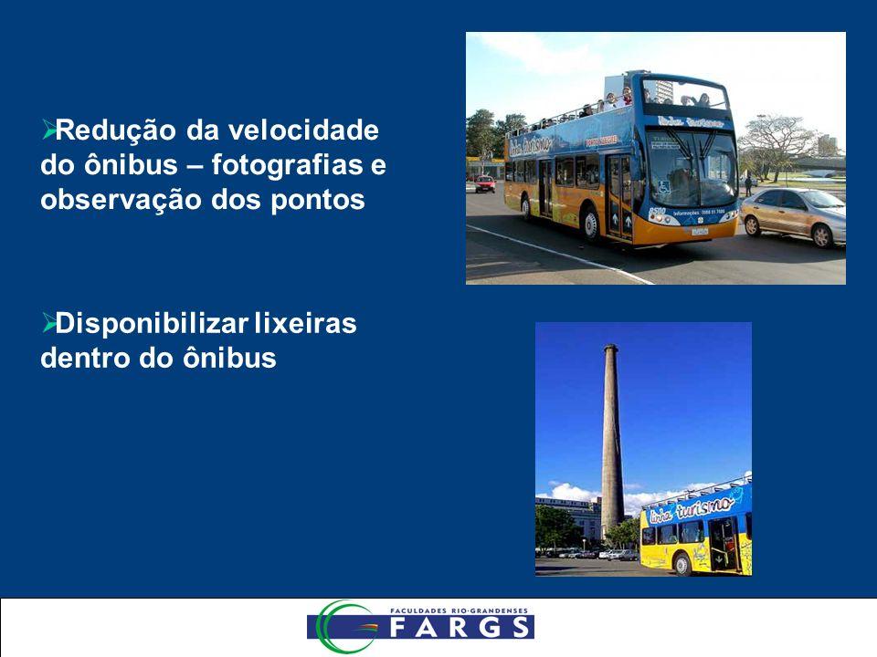 Redução da velocidade do ônibus – fotografias e observação dos pontos