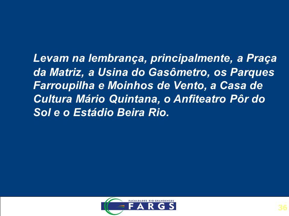 Levam na lembrança, principalmente, a Praça da Matriz, a Usina do Gasômetro, os Parques Farroupilha e Moinhos de Vento, a Casa de Cultura Mário Quintana, o Anfiteatro Pôr do Sol e o Estádio Beira Rio.