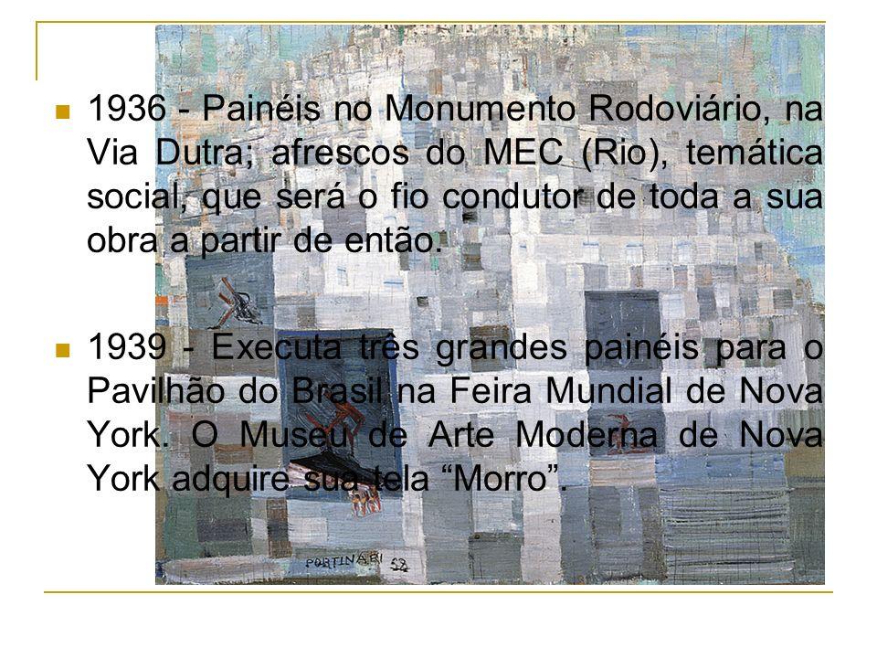 1936 - Painéis no Monumento Rodoviário, na Via Dutra; afrescos do MEC (Rio), temática social, que será o fio condutor de toda a sua obra a partir de então.