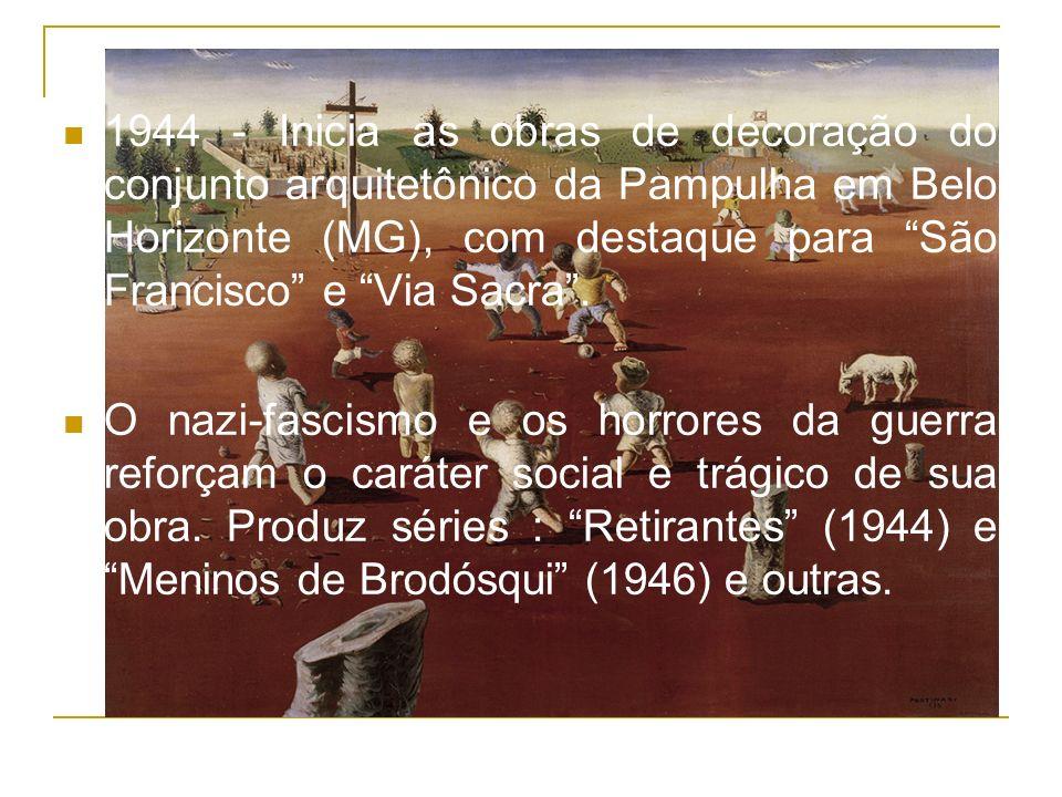 1944 - Inicia as obras de decoração do conjunto arquitetônico da Pampulha em Belo Horizonte (MG), com destaque para São Francisco e Via Sacra .