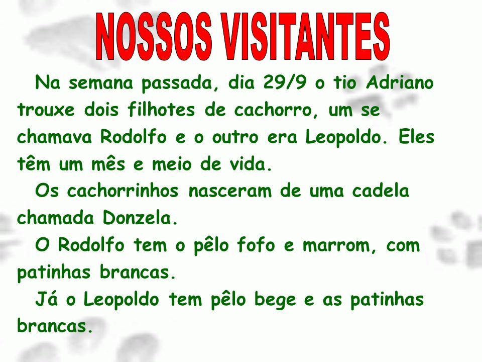 NOSSOS VISITANTES Na semana passada, dia 29/9 o tio Adriano