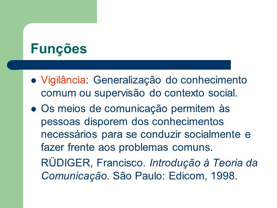 FunçõesVigilância: Generalização do conhecimento comum ou supervisão do contexto social.