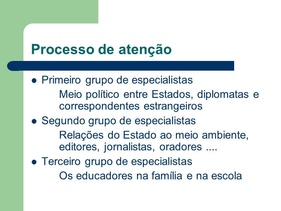Processo de atenção Primeiro grupo de especialistas