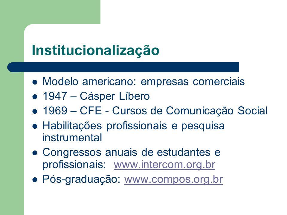Institucionalização Modelo americano: empresas comerciais
