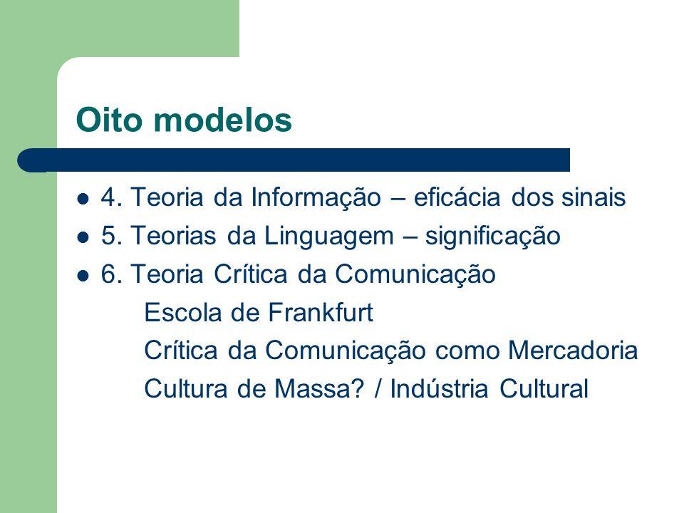 Oito modelos 4. Teoria da Informação – eficácia dos sinais