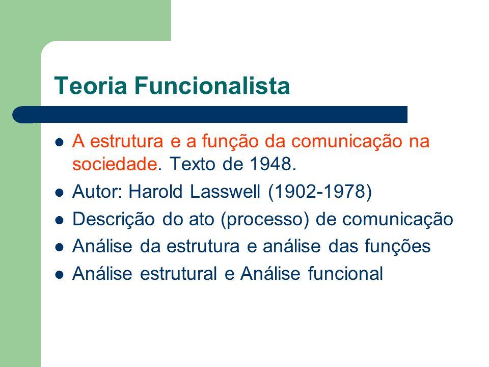 Teoria FuncionalistaA estrutura e a função da comunicação na sociedade. Texto de 1948. Autor: Harold Lasswell (1902-1978)