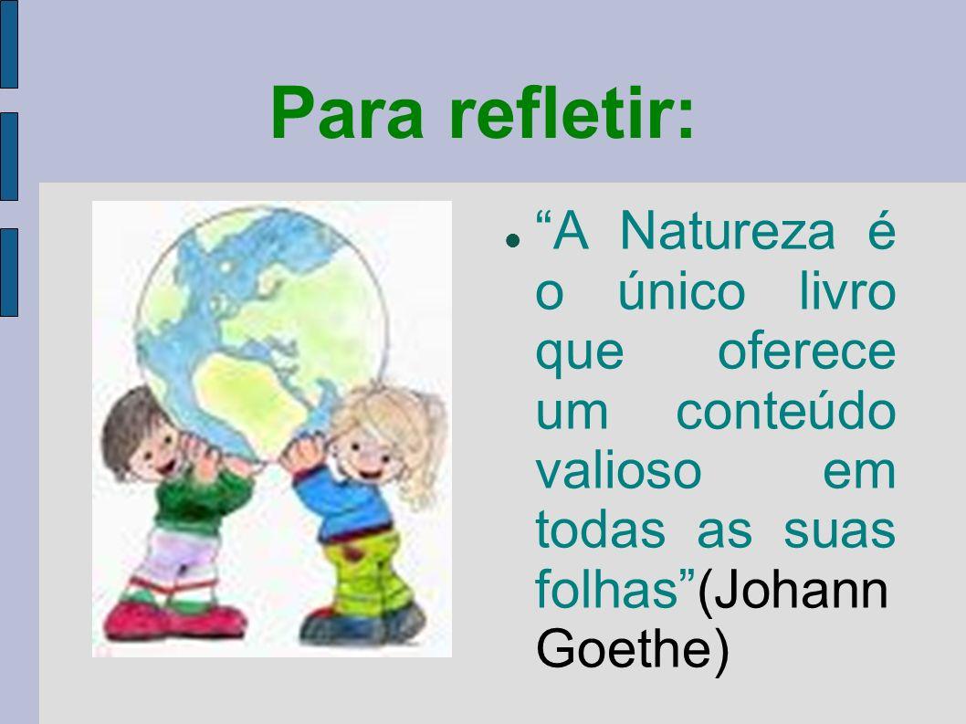 Para refletir: A Natureza é o único livro que oferece um conteúdo valioso em todas as suas folhas (Johann Goethe)