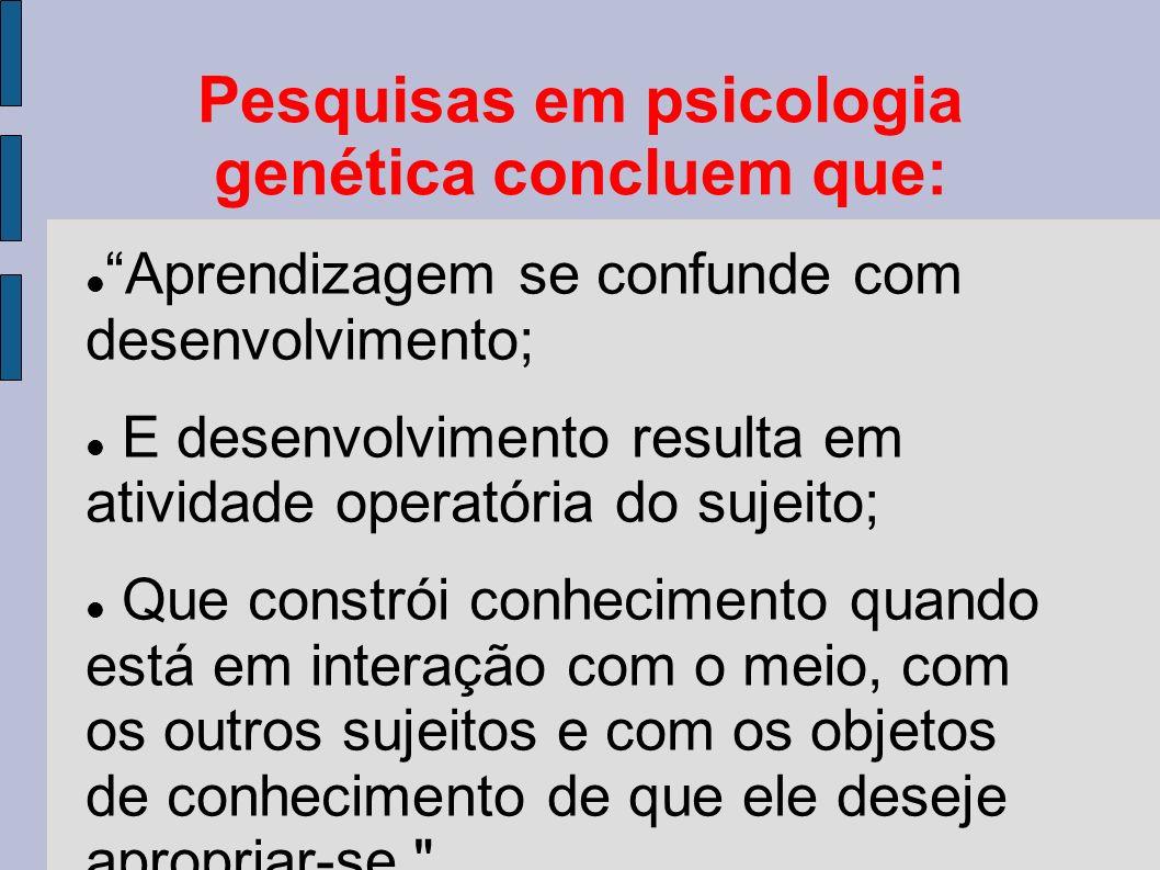 Pesquisas em psicologia genética concluem que: