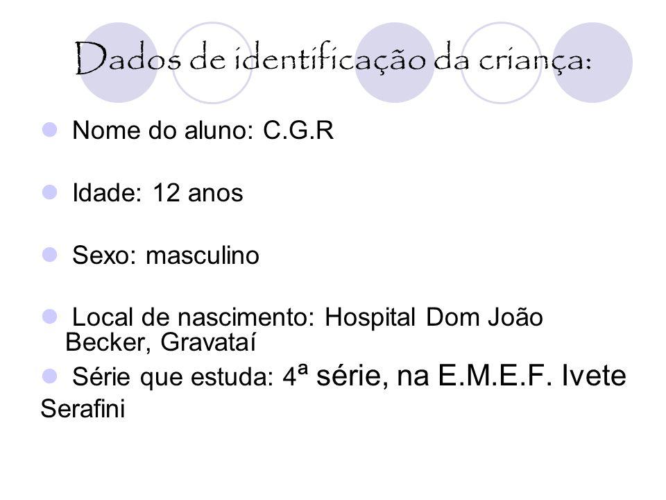 Dados de identificação da criança:
