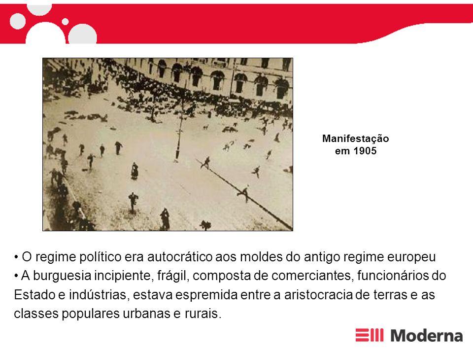 O regime político era autocrático aos moldes do antigo regime europeu