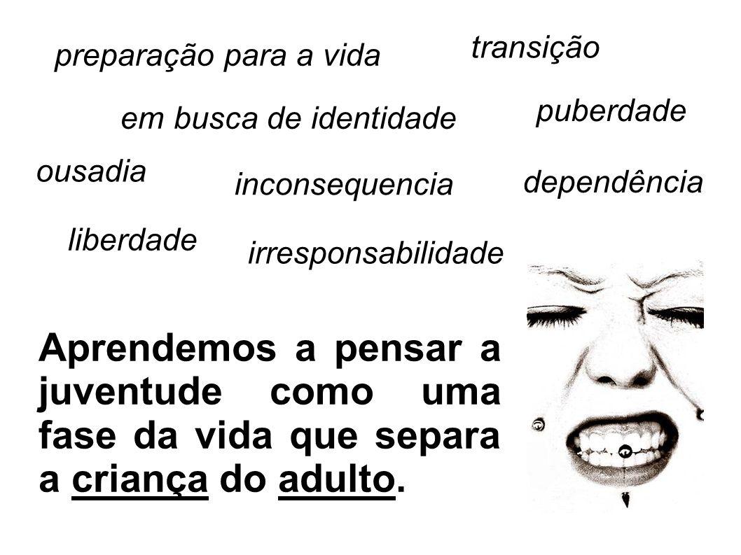 transição preparação para a vida. puberdade. em busca de identidade. ousadia. inconsequencia. dependência.