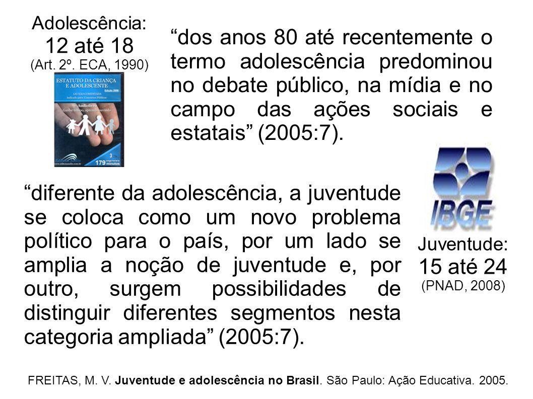 Adolescência: 12 até 18. (Art. 2º. ECA, 1990)