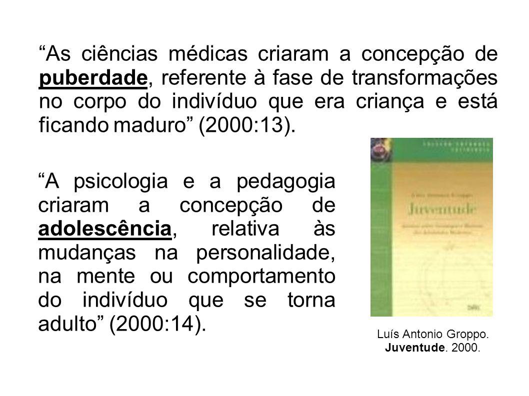 As ciências médicas criaram a concepção de puberdade, referente à fase de transformações no corpo do indivíduo que era criança e está ficando maduro (2000:13).