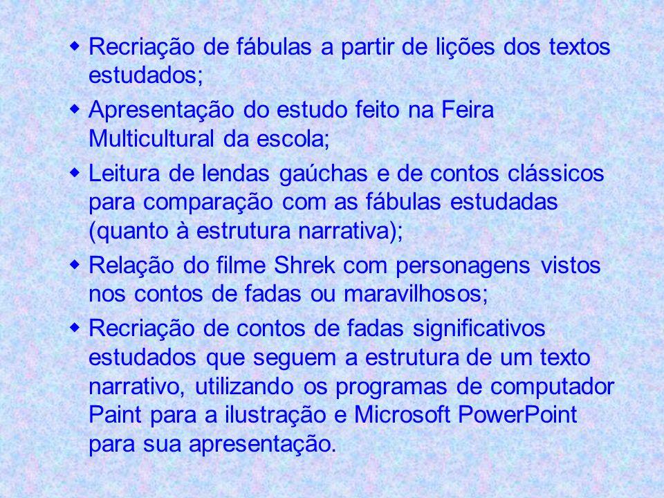 Recriação de fábulas a partir de lições dos textos estudados;