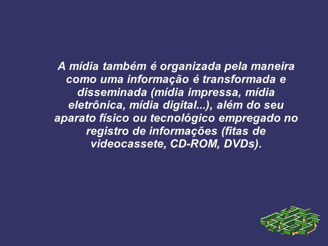 A mídia também é organizada pela maneira como uma informação é transformada e disseminada (mídia impressa, mídia eletrônica, mídia digital...), além do seu aparato físico ou tecnológico empregado no registro de informações (fitas de videocassete, CD-ROM, DVDs).