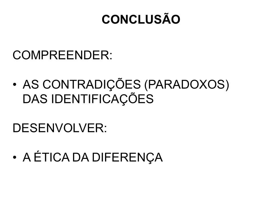 CONCLUSÃO COMPREENDER: AS CONTRADIÇÕES (PARADOXOS) DAS IDENTIFICAÇÕES.