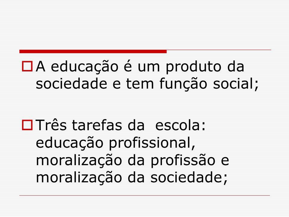 A educação é um produto da sociedade e tem função social;