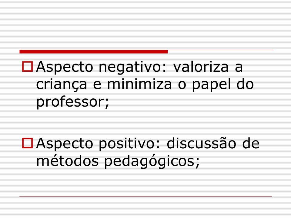 Aspecto negativo: valoriza a criança e minimiza o papel do professor;