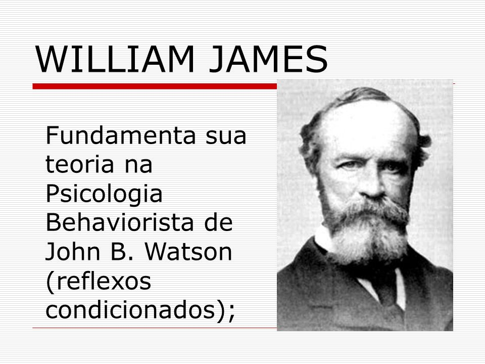 WILLIAM JAMESFundamenta sua teoria na Psicologia Behaviorista de John B.