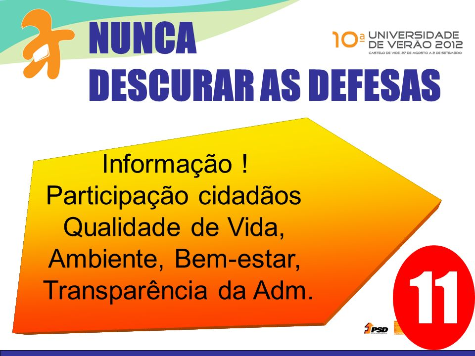 11 NUNCA DESCURAR AS DEFESAS Reduzir as assimetrias de