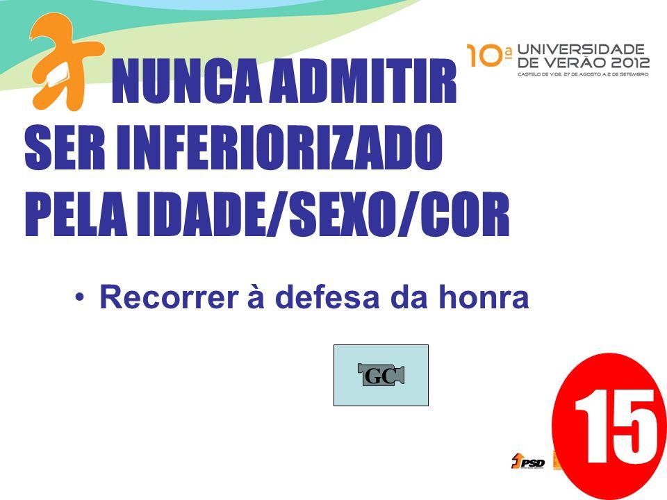 15 NUNCA ADMITIR SER INFERIORIZADO PELA IDADE/SEXO/COR