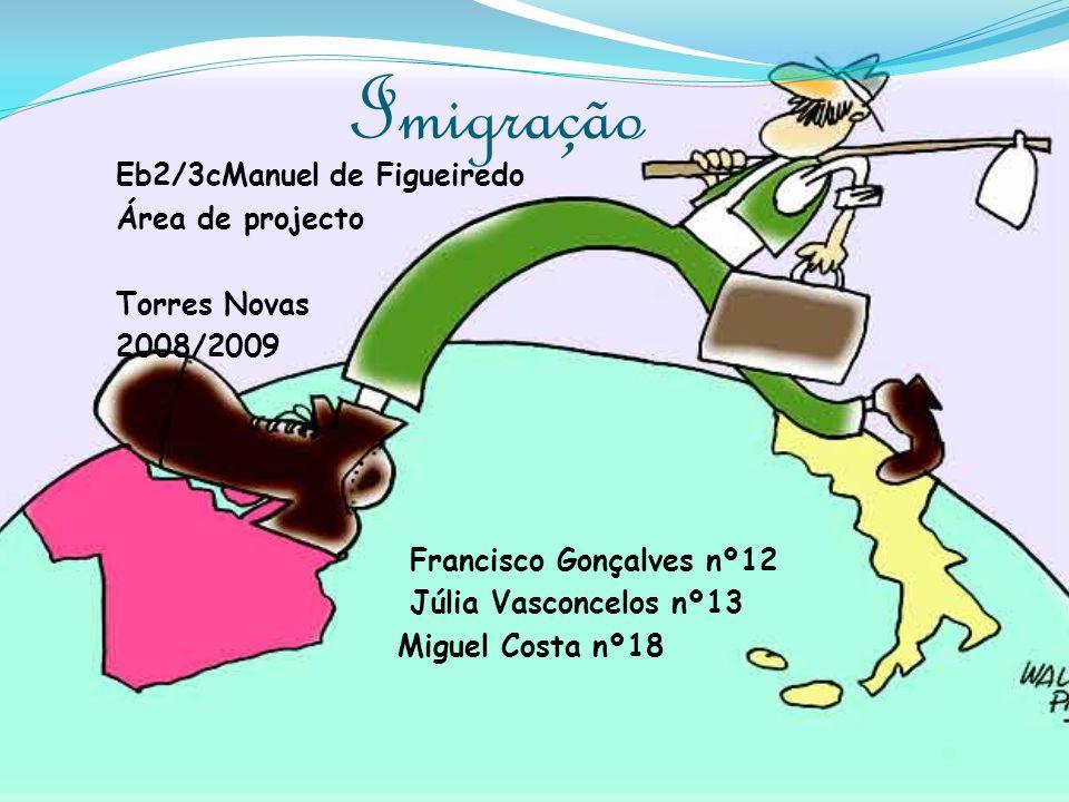 ImigraçãoEb2/3cManuel de Figueiredo Área de projecto Torres Novas 2008/2009 Francisco Gonçalves nº12 Júlia Vasconcelos nº13 Miguel Costa nº18