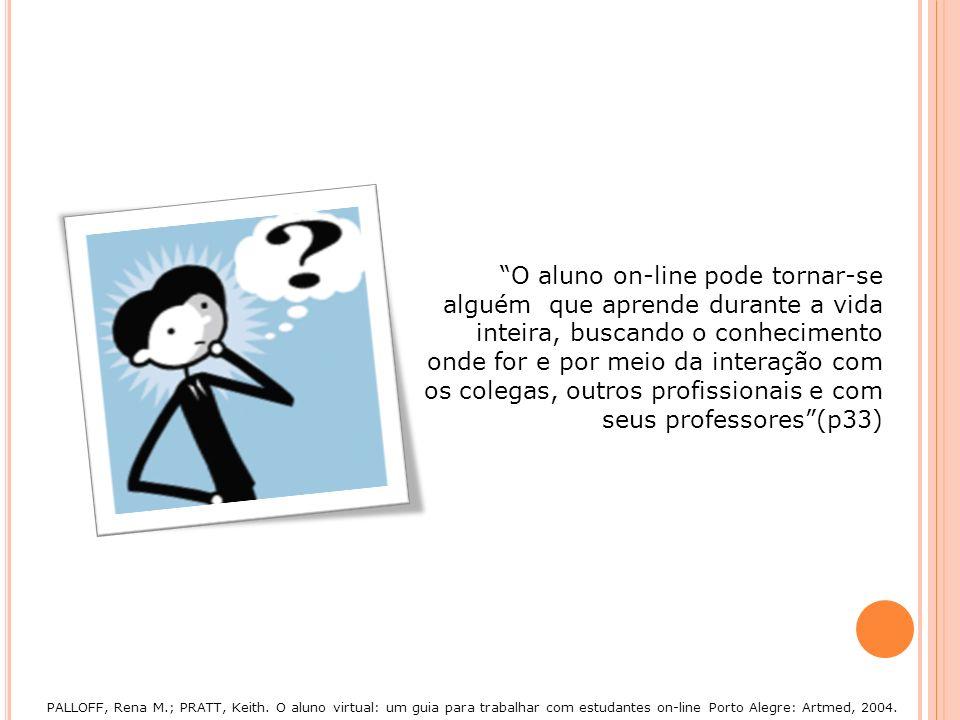 O aluno on-line pode tornar-se alguém que aprende durante a vida inteira, buscando o conhecimento onde for e por meio da interação com os colegas, outros profissionais e com seus professores (p33)