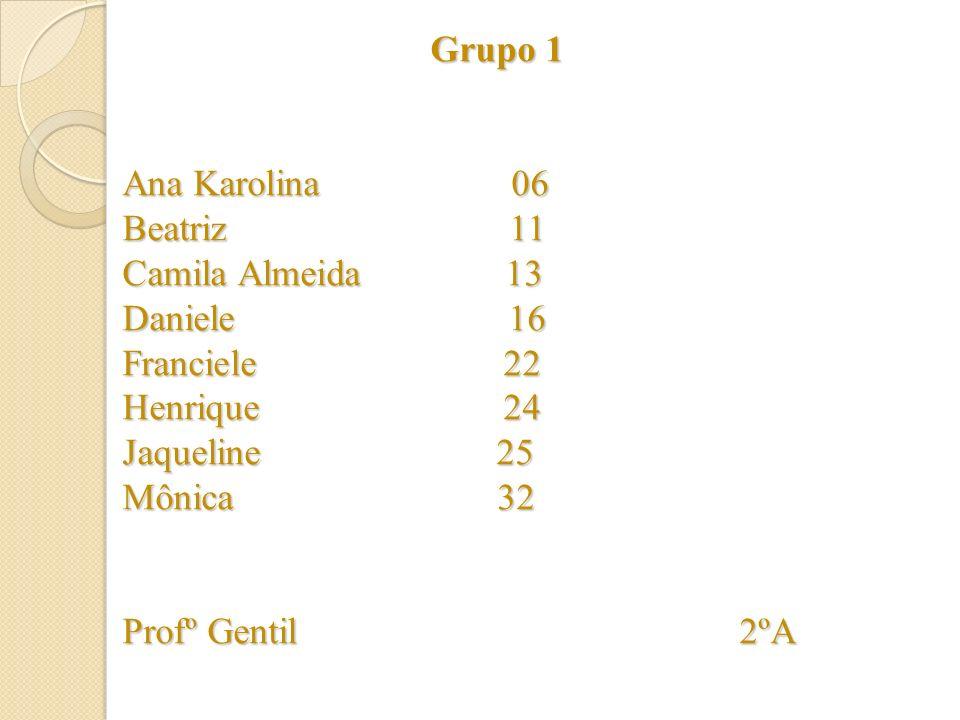 Grupo 1 Ana Karolina 06 Beatriz 11 Camila Almeida 13 Daniele 16 Franciele 22 Henrique 24 Jaqueline 25 Mônica 32 Profº Gentil 2ºA