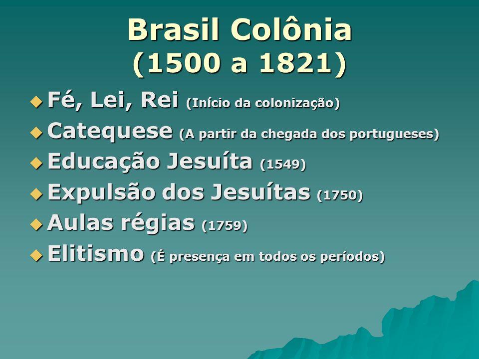 Brasil Colônia (1500 a 1821) Fé, Lei, Rei (Início da colonização)