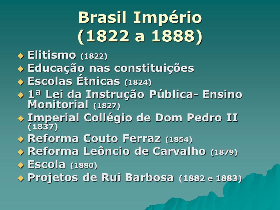Brasil Império (1822 a 1888) Elitismo (1822)