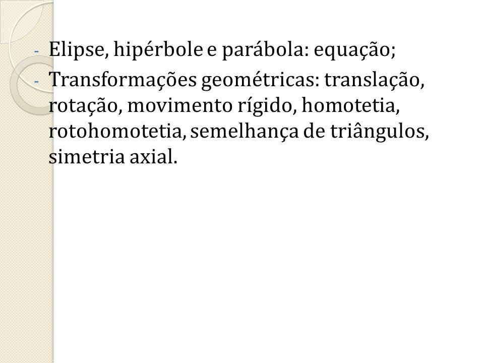 Elipse, hipérbole e parábola: equação;