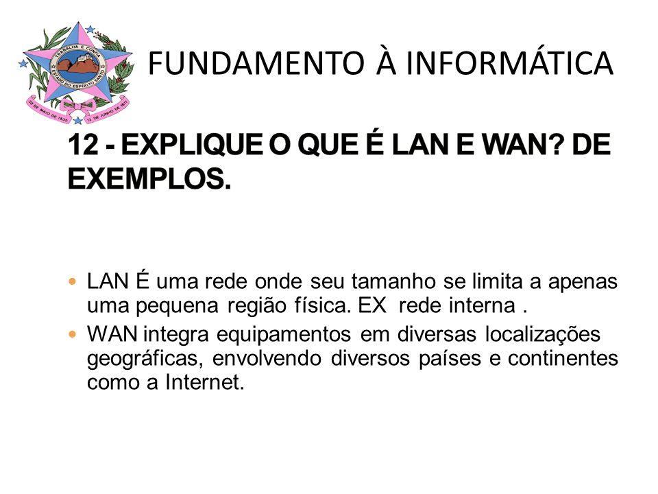 12 - EXPLIQUE O QUE É LAN E WAN DE EXEMPLOS.