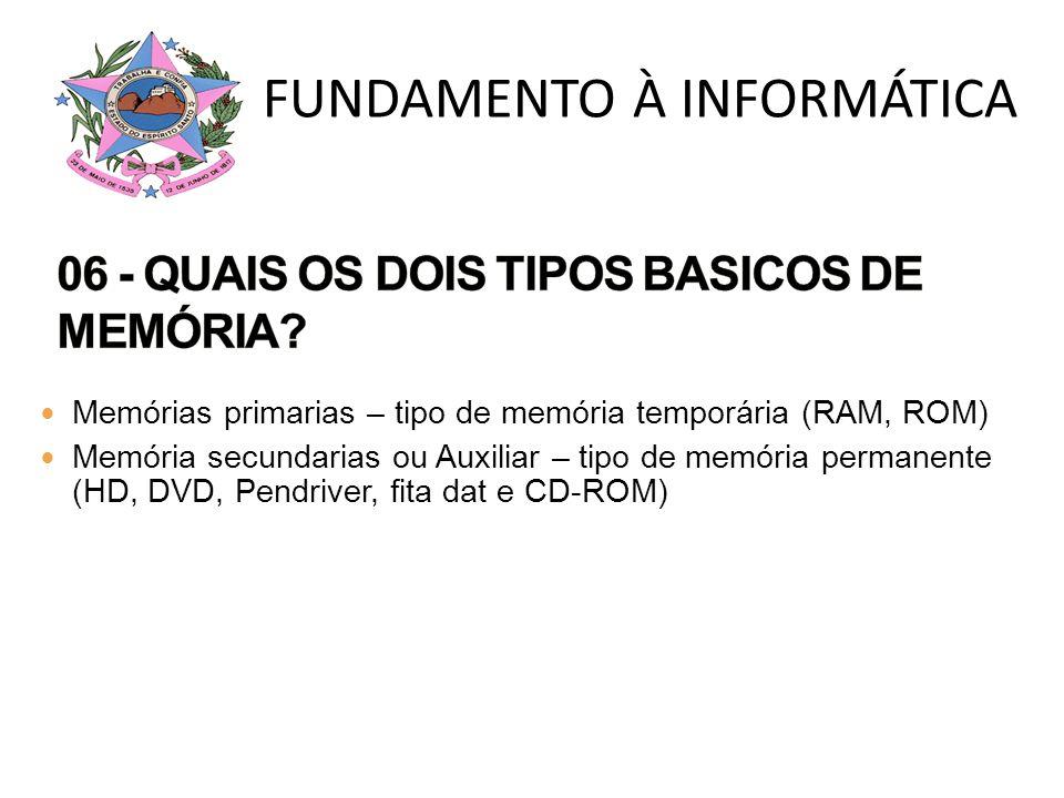 06 - QUAIS OS DOIS TIPOS BASICOS DE MEMÓRIA