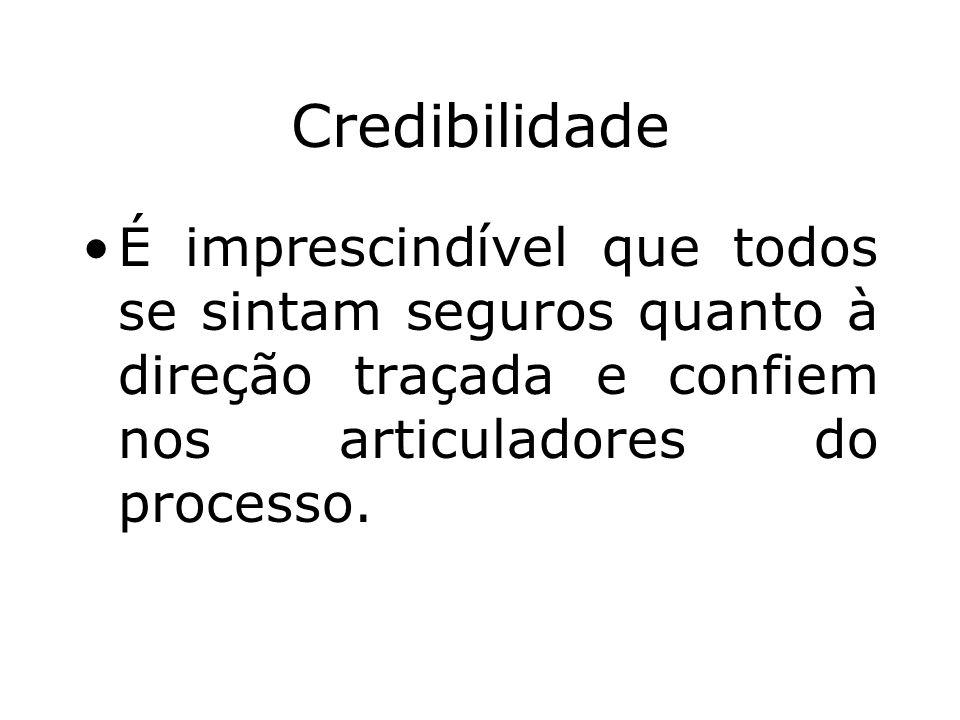 Credibilidade É imprescindível que todos se sintam seguros quanto à direção traçada e confiem nos articuladores do processo.