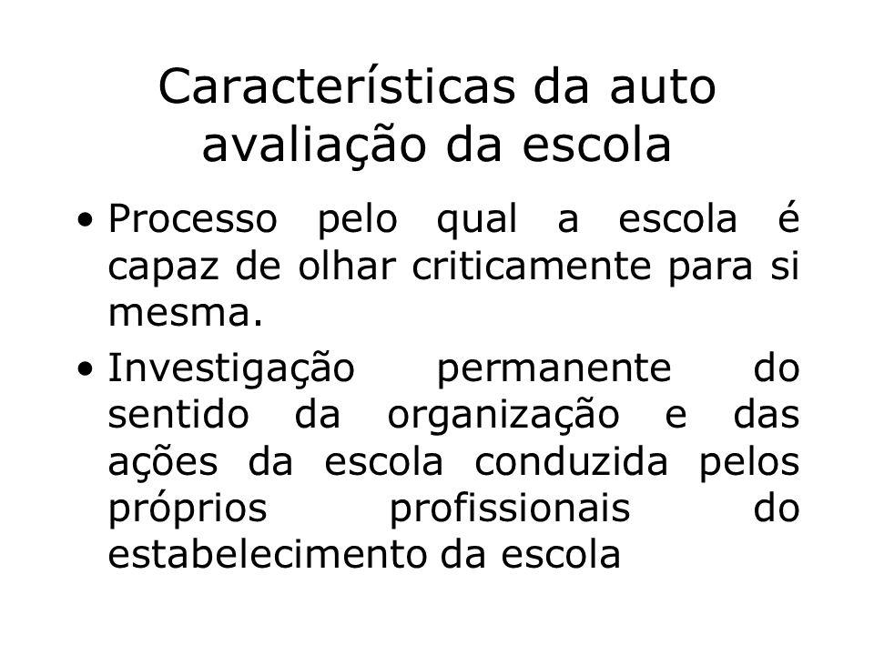Características da auto avaliação da escola