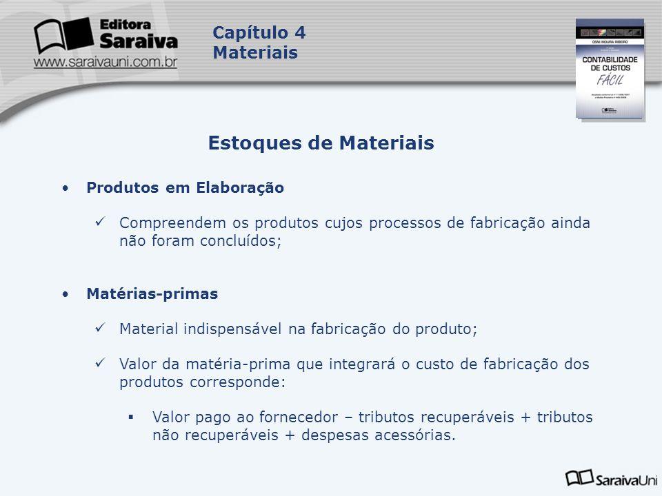 Estoques de Materiais Capítulo 4 Materiais Produtos em Elaboração