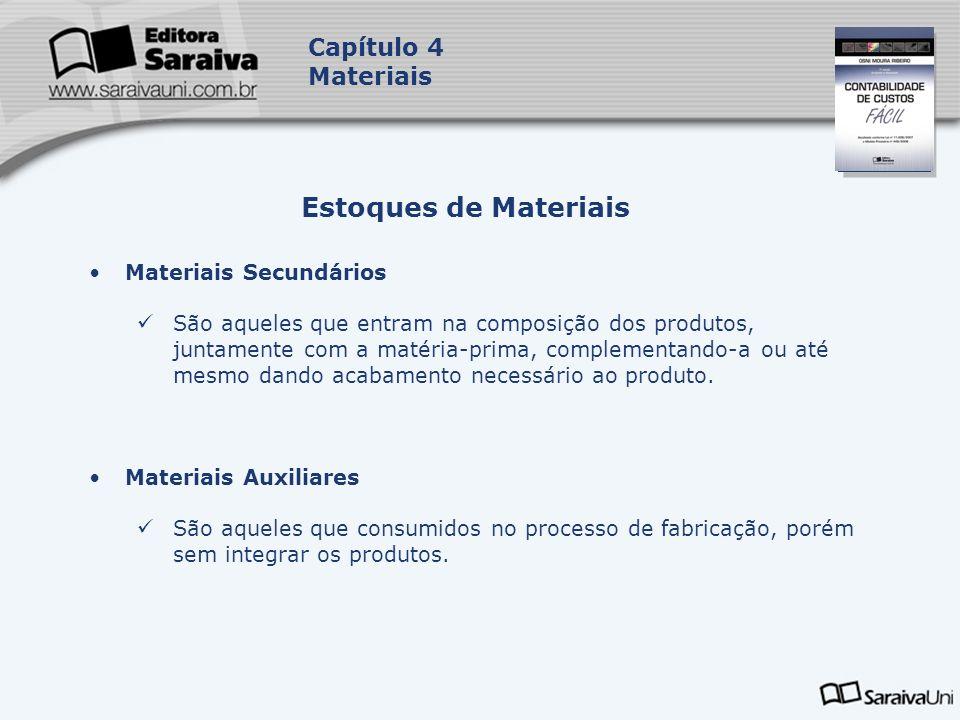 Estoques de Materiais Capítulo 4 Materiais Materiais Secundários
