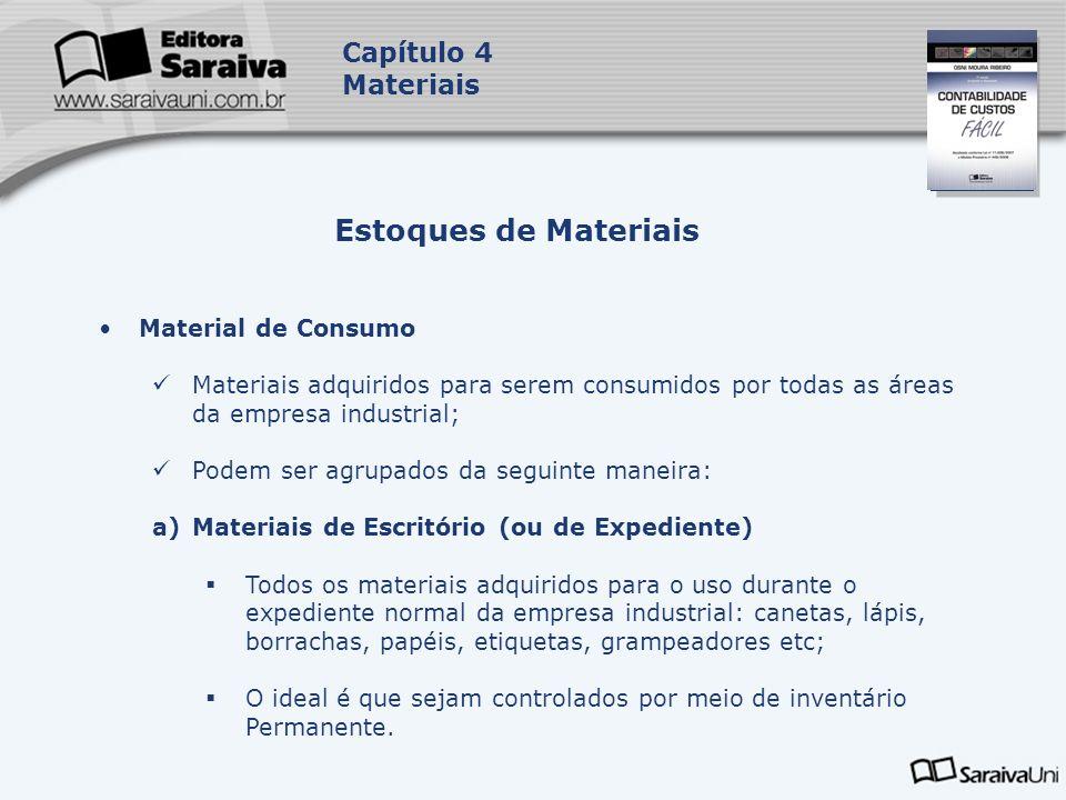 Estoques de Materiais Capítulo 4 Materiais Material de Consumo