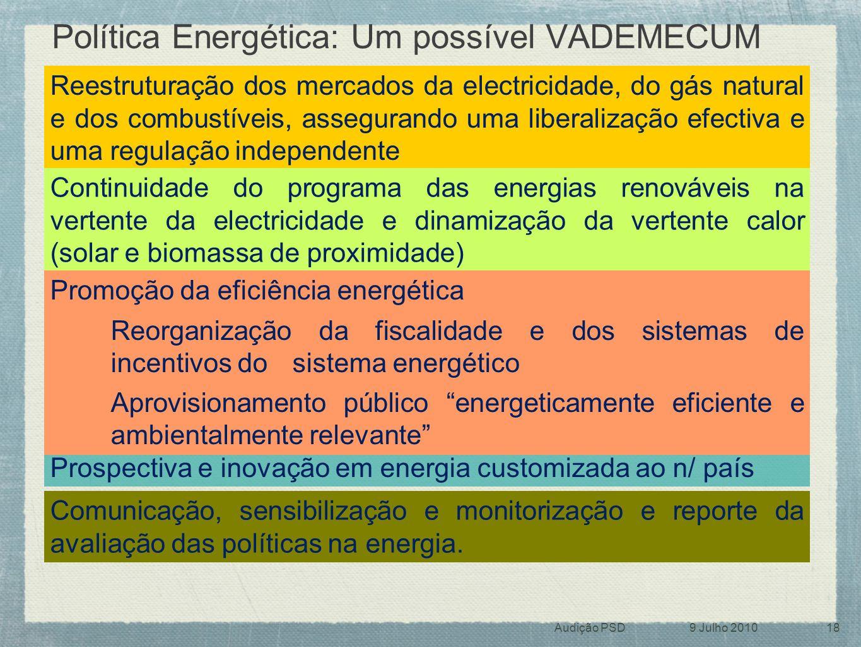 Política Energética: Um possível VADEMECUM