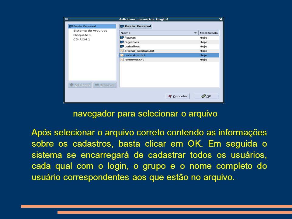 navegador para selecionar o arquivo
