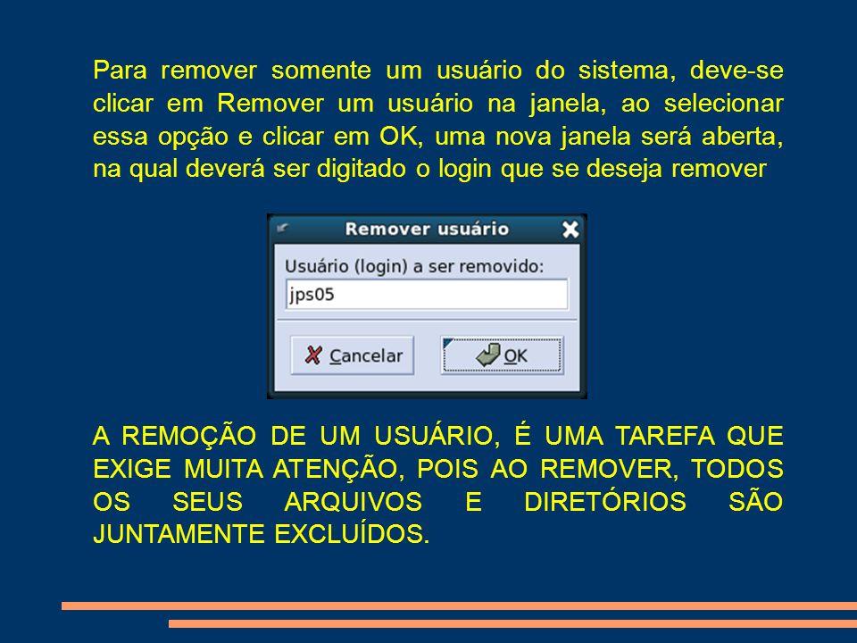 Para remover somente um usuário do sistema, deve-se clicar em Remover um usuário na janela, ao selecionar essa opção e clicar em OK, uma nova janela será aberta, na qual deverá ser digitado o login que se deseja remover