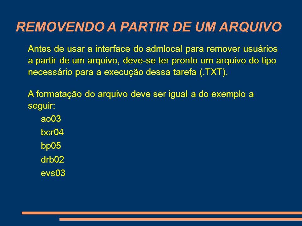 REMOVENDO A PARTIR DE UM ARQUIVO