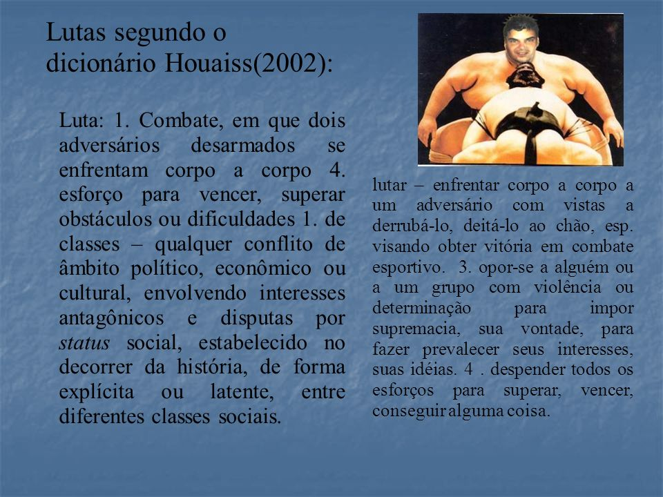 Lutas segundo o dicionário Houaiss(2002):