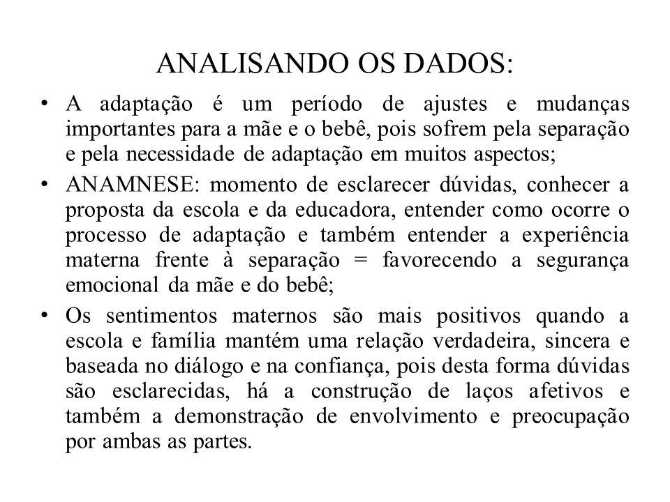 ANALISANDO OS DADOS: