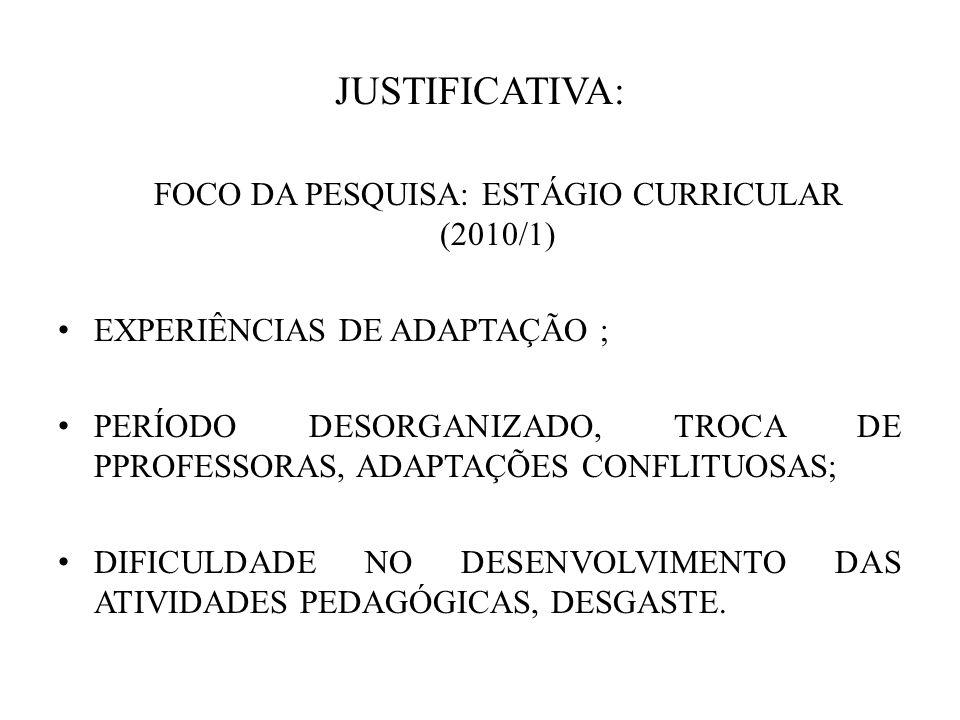 FOCO DA PESQUISA: ESTÁGIO CURRICULAR (2010/1)
