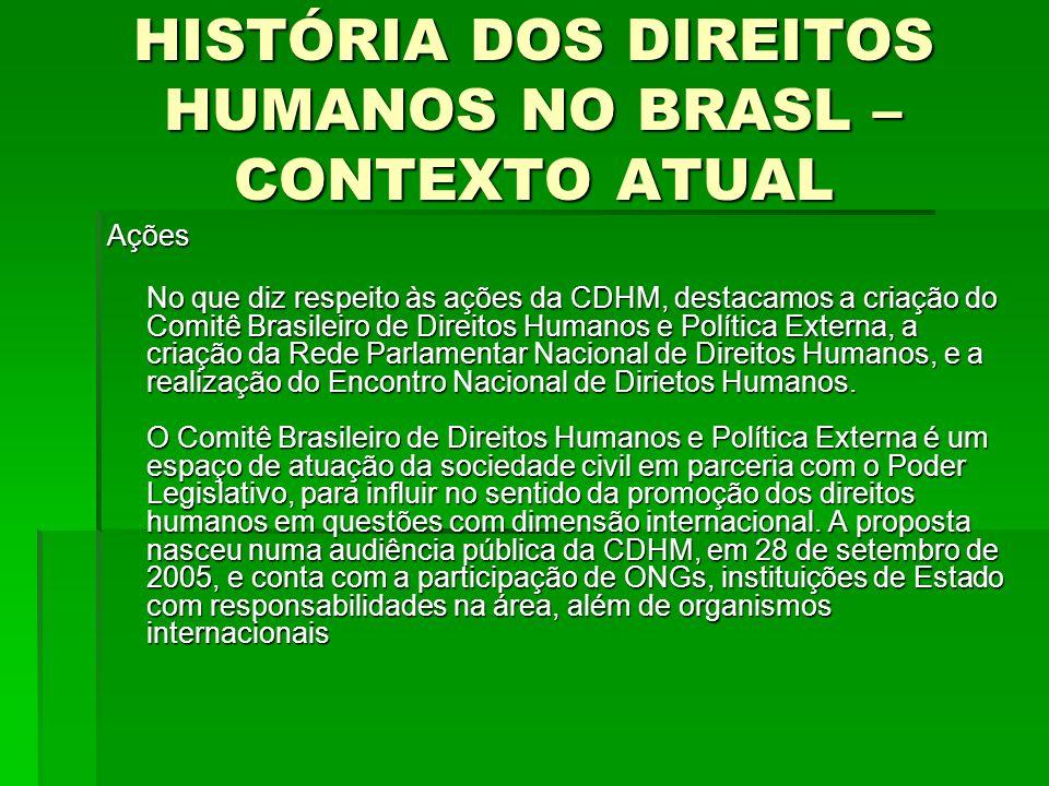 HISTÓRIA DOS DIREITOS HUMANOS NO BRASL – CONTEXTO ATUAL