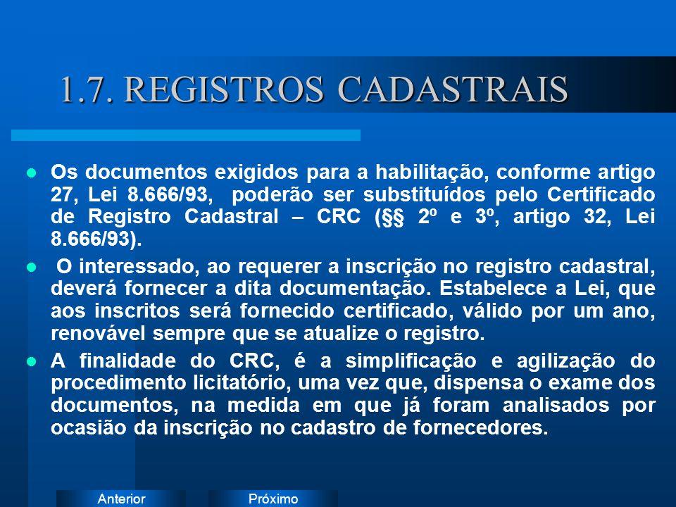1.7. REGISTROS CADASTRAIS Instruções: