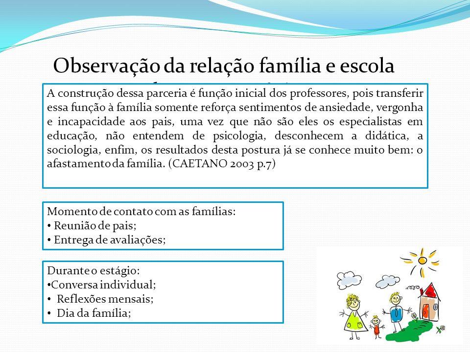 Observação da relação família e escola durante o estágio