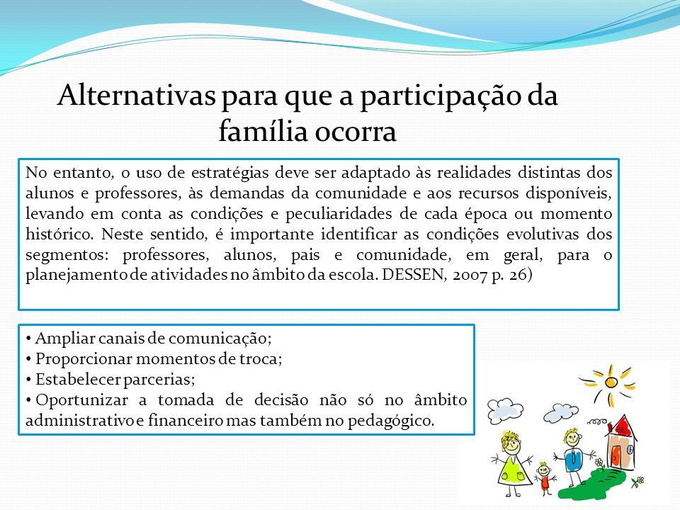 Alternativas para que a participação da família ocorra