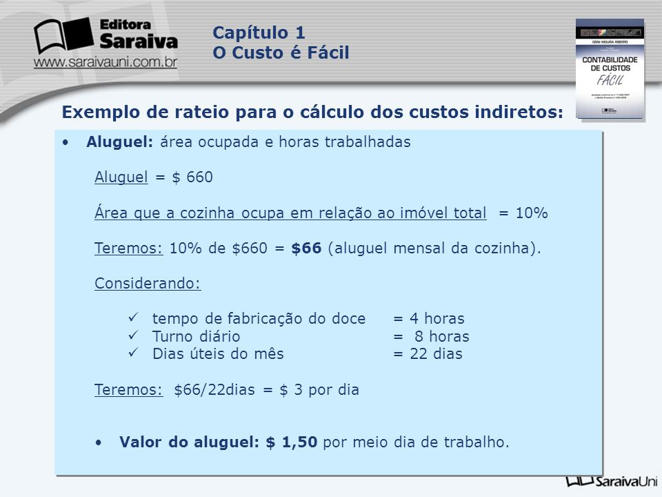 Exemplo de rateio para o cálculo dos custos indiretos: